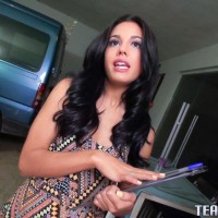 Latina teener Apolonia Lapiedra gets on top a guy's penis for a money