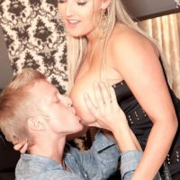 Gangly sandy-haired stunner Krystal Rapid releasing ultra-cute fun bags from dress for nipple eating