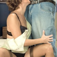 Lanky grandmother Avalynne O'Brien tempts a black stud in pantyhose and garters