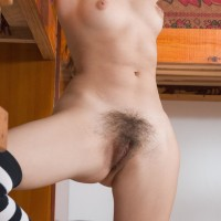 Lengthy socks garbed amateur Vilma displaying super-cute melons and fur covered cootchie
