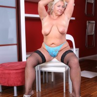 Experienced ash-blonde BBW disrobing out of micro-skirt and lingerie to pose overweight derriere in the nude