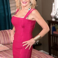 Older light-haired woman Kendall Rex flashes her panties while seducing her son-in-law