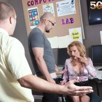 Older platinum-blonde educator Amanda Verhooks caught delivering blow-job in mini-skirt