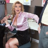 Older platinum-blonde educator Amanda Verhooks caught delivering blow-job in mini-skirt