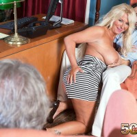 Experienced platinum-blonde woman Annellise Croft flashing enormous funbags in front of cuckold