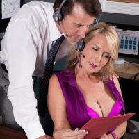 Experienced fair-haired woman Laura Layne seducing sex from co-worker in her work place