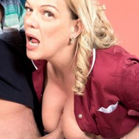 Older blonde doll Lena Lewis seduces a junior stud after baking him a cake