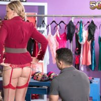Aged ash-blonde woman Lena Lewis seduces her youthfull paramour in pantyhose and garters