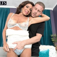 Experienced brunette gal Layla LaMora having lingerie and skivvies undressed off
