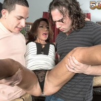 Mature doll Layla LaMora tangles with a couple of enormous boners simultaneously