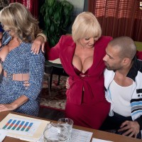 Aged nymphs Jenna Covelli and Scarlet Andrews tempt younger dudes at a diner