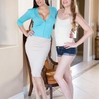 MILF adult film star Mercedes Carrera and nubile female Zoey disrobe for lesbian sex on sofa