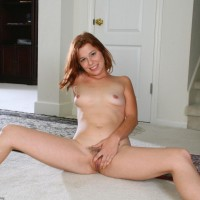 All-natural redheaded first timer vaunting perky melons and tidily hairless fuckbox