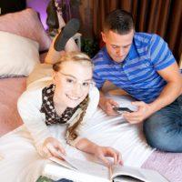 Nerdy college girl Cassidy Ryan grabs hold of her boyfriend`s hefty dick in her bedroom