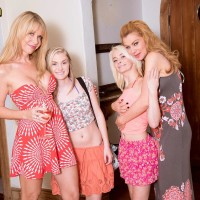 Elderly and junior lezzies disrobe off swimsuits for outdoors lesbian four way