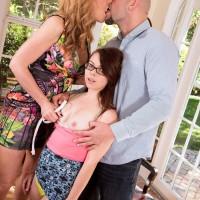 Elder and younger bitches Sasha Sean and Jennifer Matthews having nanny 3some