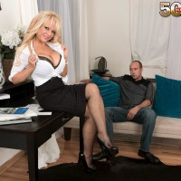 Older light-haired boss woman Bella Dea unsheathing immense titties before giving BLOW-JOB in office place