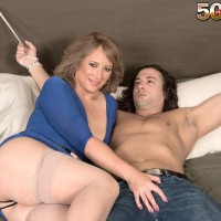 Elderly light-haired dame Catrina Costa teases her roped up lover in hose and high heeled shoes