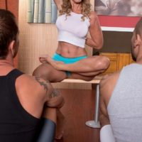 Elder platinum-blonde yoga professor Jenna Covelli blowing student's immense boners in class