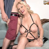 Over 50 platinum-blonde dame Lady Dulbin seducing junior stud in nippleless melon-holder