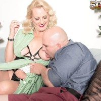 Over 50 platinum-blonde dame Lady Dulbin seducing junior stud in nippleless melon-holder