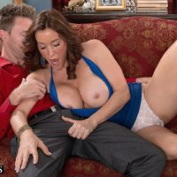 Over 50 MILF Rachel Steele exposing massive melons before having cootchie ate out on chesterfield