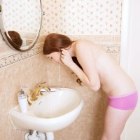 Panty clad tatted amateur black-haired uncovering little teener fun bags in bathroom