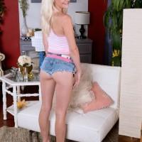 Diminutive 18 yr elderly golden-haired Stacy Kiss unsheathing lil' nubile breasts in short denim shorts