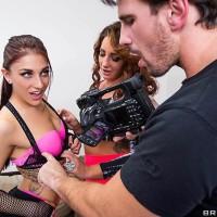 Adult video starlets Mischa Brooks and Savannah Fox do anal sex in a rigid three way poke