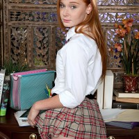 Redhead first-timer Alex Tanner baring petite teen boobs from schoolgirl uniform