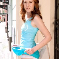 Redhead first-timer Linda Gorgeous flaunting upskirt underwear outdoors before uncovering diminutive funbags