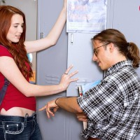 Red-haired coed undressed naked for slit tonguing by teacher in classroom