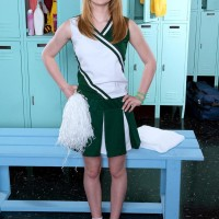 Red-haired teener cheerleader Maci More extracting super-cute youthfull girl breasts from white bra