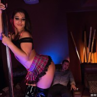 Uber-sexy female Abella Danger polishes her hefty butt against stripper pole before sex for money