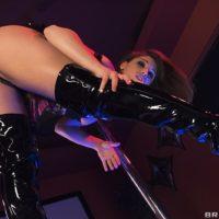 Uber-sexy female Abella Danger polishes her hefty butt against stripper pole before sex for money