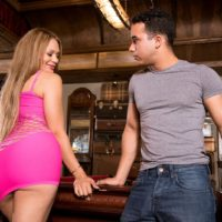 Gorgeous Latina MILF Samantha Bell seducing man at bar with her giant rump