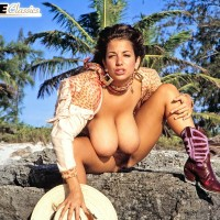 Beguiling MILF Devon Daniels showcases her gigantic juggs while at the beach in boots