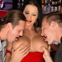 Stellar MILF Patty Michova gives 2 boys oral jobs at the same time in a bar