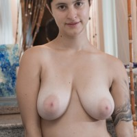 Short haired all natural first-timer female Sue flaunting unshaven underarms and muff