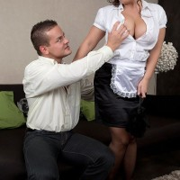 Stocking and uniformed attired maid having giant all-natural titties exposed for nipple play