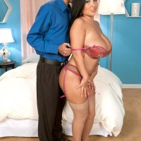 Stocking wearing brunette stunner Daylene Rio having huge melons and swell nipples tongued