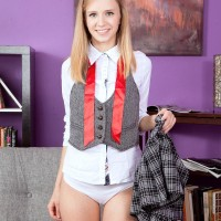 Teenage bombshell Rachel James showcasing upskirt coed undies before releasing flat chest