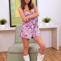 Teenage hotty Seductive Di unleashing lil' titties and hard nips in cowgirl boots and panties
