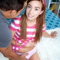Teen hottie Kaylee Haze showing off puny titties and upskirt panties in knee socks