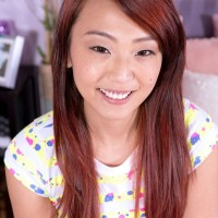 Young Asian first-timer Layla Mynxxx loosing petite breasts before providing oral job