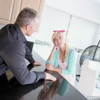 Youthfull platinum-blonde girl Eliza Jane deepthroats and plumbs a boy as senior as her dad is