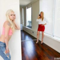 Young light-haired chick Else Desire coerces her stepmother into lezzy sex