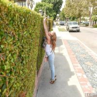 Youthful fair-haired chick Lilly Ford doffs her blue denim jeans on way to screwing an senior stud