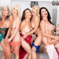 Sixty plus MILF Mia Magnusson gathers her girlfriends for an all female fuckfest