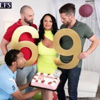 Huge-titted grannie Rita Daniels gargles on big milky and ebony boners for birthday number 60 nine